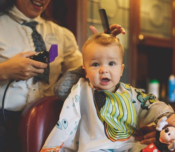 child's first haircut